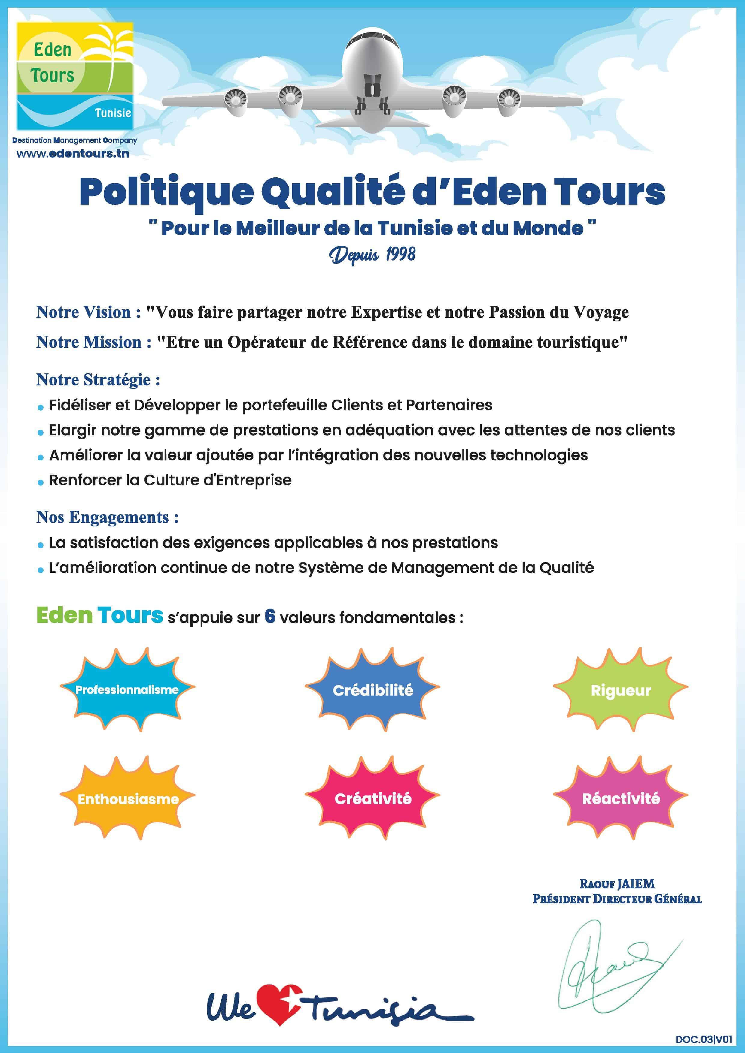 Politique qualité Eden Tours